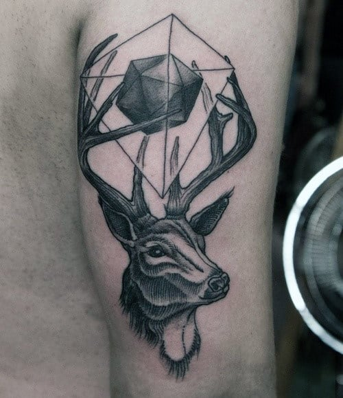 Abstract Antler Tattoo On Mans Arms