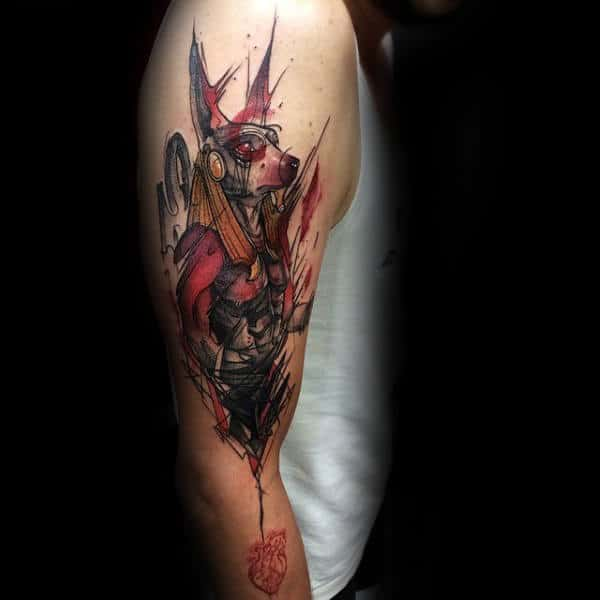 Abstract Anubis Watercolor Mens Upper Arm Tattoos