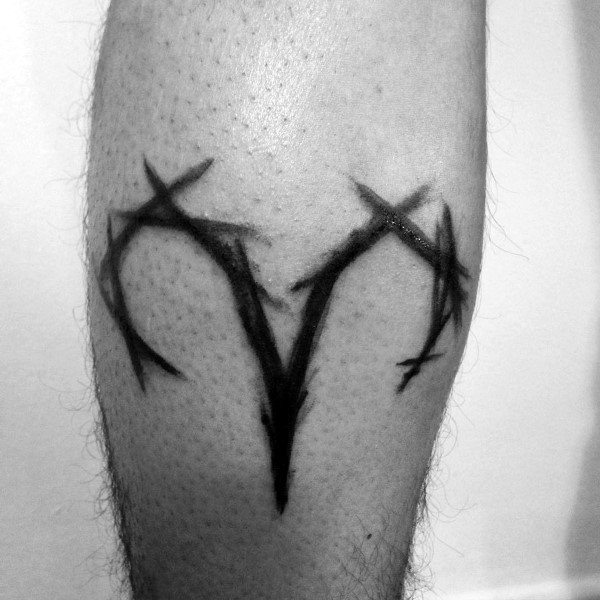 Abstract Aries Zodiac Sign Leg Calf Tattoos For Men