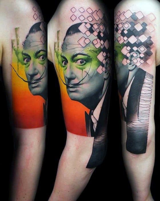 Abstract Arm Mens Cool Salvador Dali Tattoo Ideas