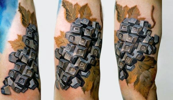 Abstract Arm Mens Leaf Tattoo