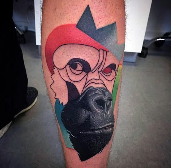 Abstract Art Tattoo Of Gorilla With Crown For Males