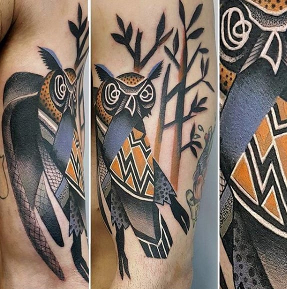 Abstract Artistic Badass Male Owl With Trees Mens Arm Tattoo