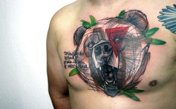 Abstract Artistic Geometric Bear Mens Chest Tattoo Ideas