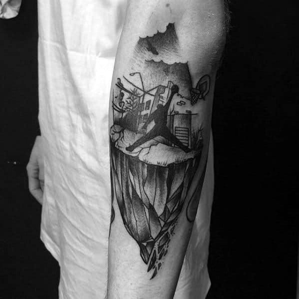 Abstract Artistic Guys Jordan Inner Forearm Tattoo