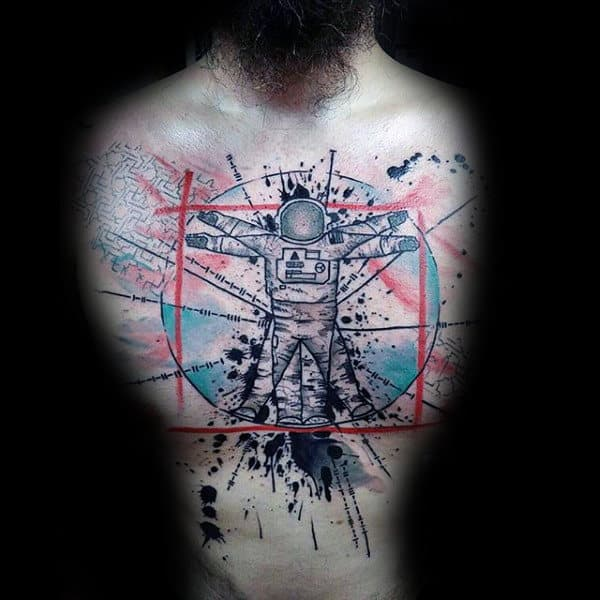 Abstract Artistic Male Astronaut Themed Vitruvian Man Chest Tattoo