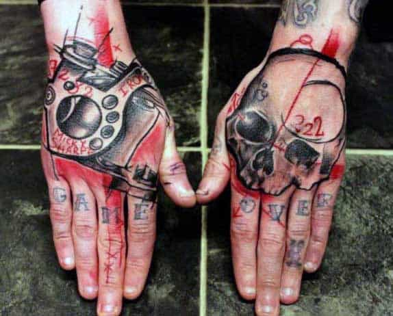 Abstract Artistic Male Skull Tattoos On Hand