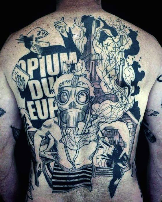 Abstract Artistic Unique Male Back Tattoo With Gas Mask Design