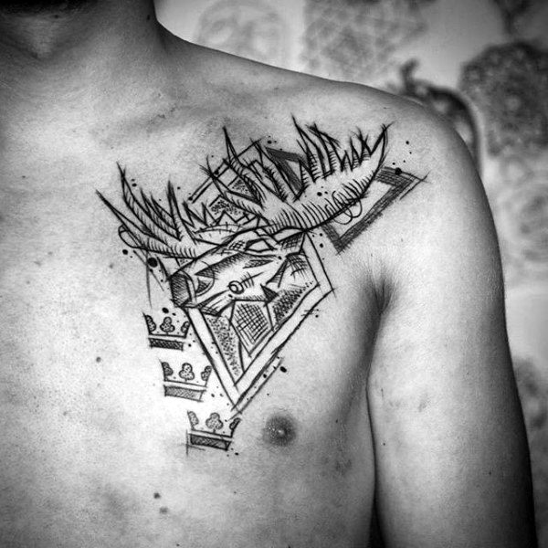 Abstract Artistic Upper Chest Moose Tattoo On Man