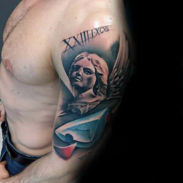 Abstract Awesome Angel Mens Arm Tattoos