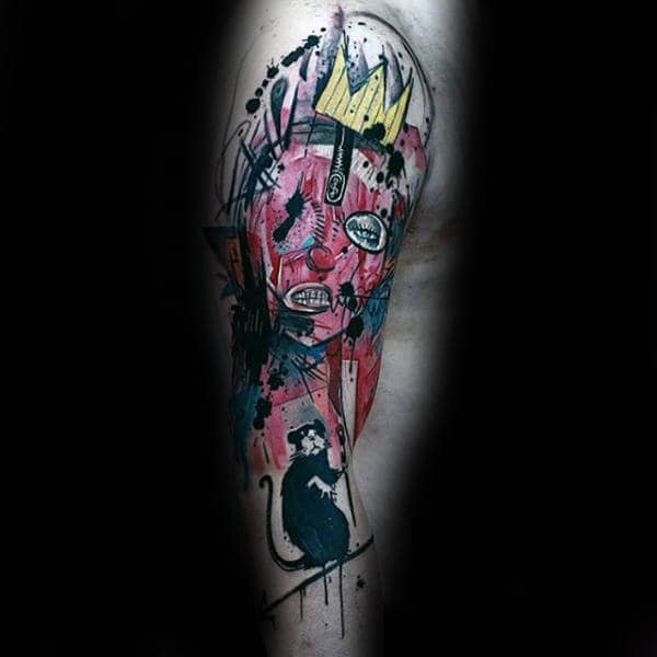 Abstract Banksy Mens Rat Arm Tattoos