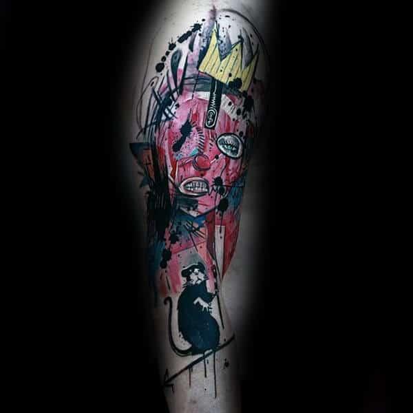 Abstract Banksy Watercolor Mens Arm Tattoos