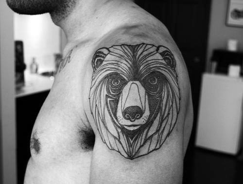 Abstract Bear Line Tattoo For Men On Upper Arm In Black Ink