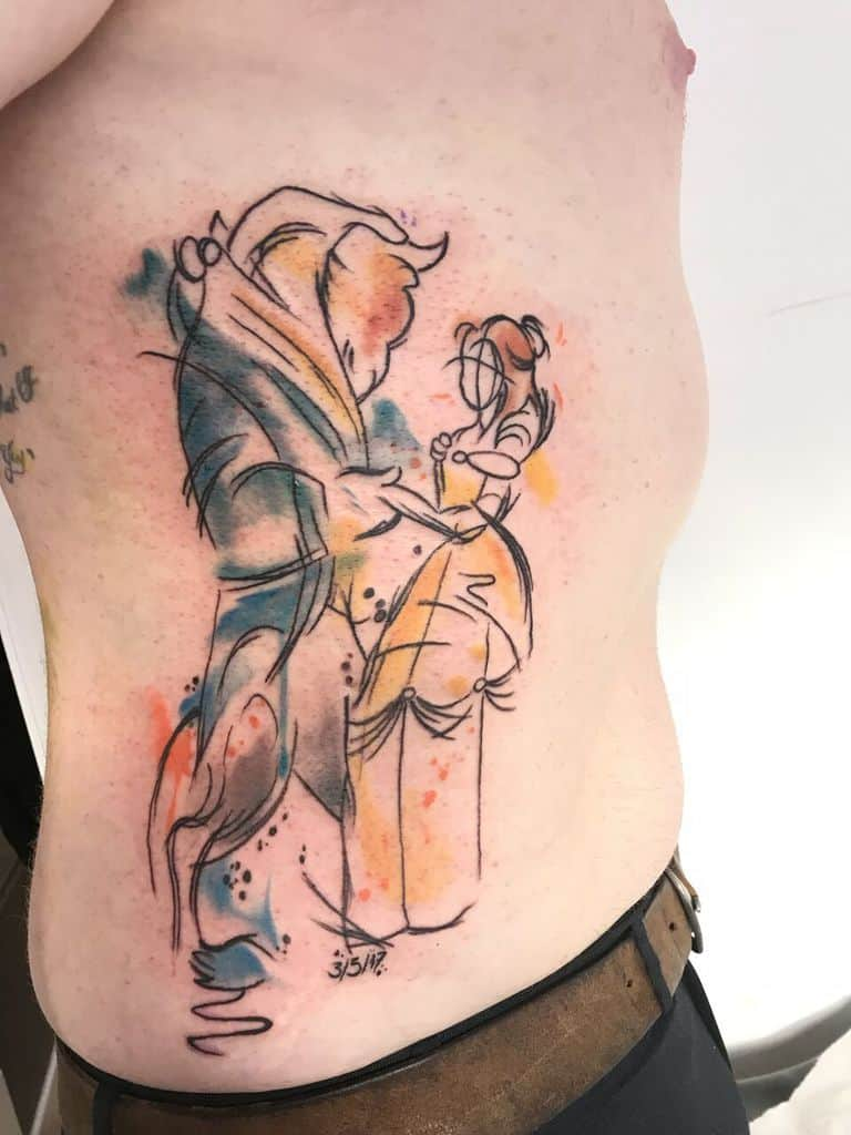Abstract Beauty And The Beast Torso Tattoo