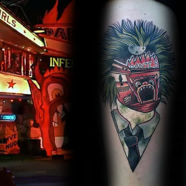 Abstract Beetlejuice Mens Movie Themed Tattoo On Inner Forearm