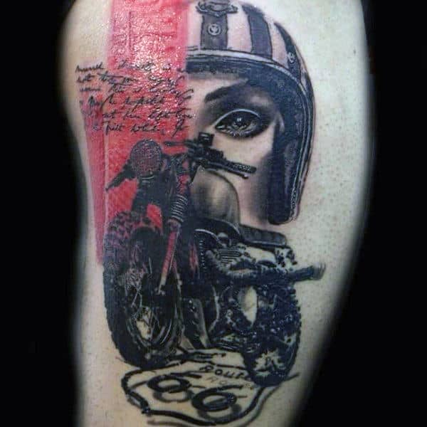 Abstract Biker Red Ink Guys Thigh Tattoo