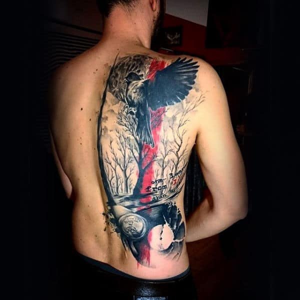 Abstract Bird Black And Red Ink Tree Back Tattoos For Men