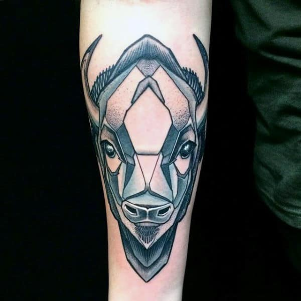 Abstract Bison Buffalo Guys Inner Forearm Tattoos