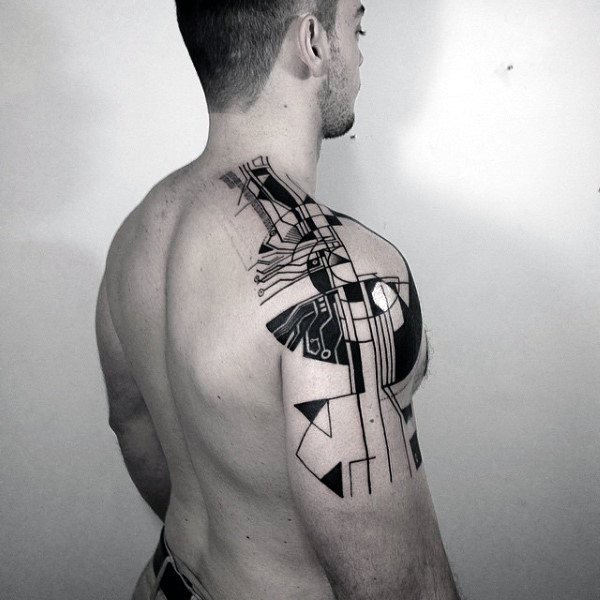 Abstract Black Ink Linework Unique Ideas For Guys