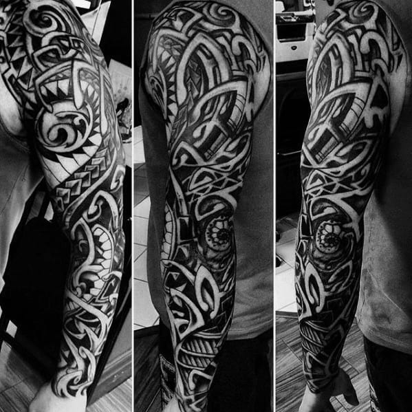 Abstract Black Ink Shaded Mens Full Arm Sick Tribal Tattoos