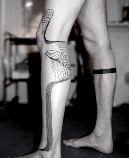 Abstract Blackwork Tattoo On Legs For Men