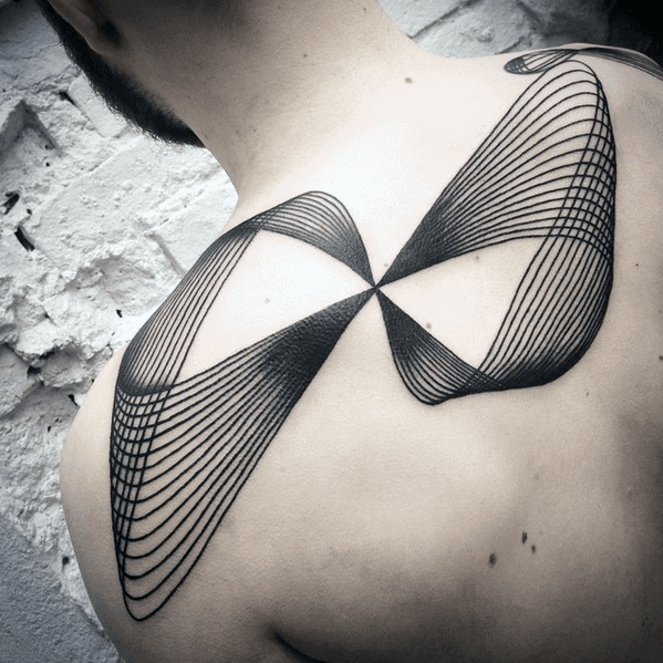Abstract Blackwork Thin Lines Back Tattoo For Guys