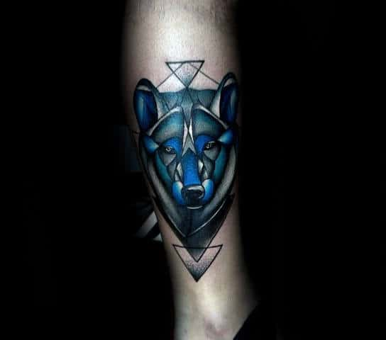 Abstract Blue Ink Geometric Wolf Lower Leg Mens Tattoos