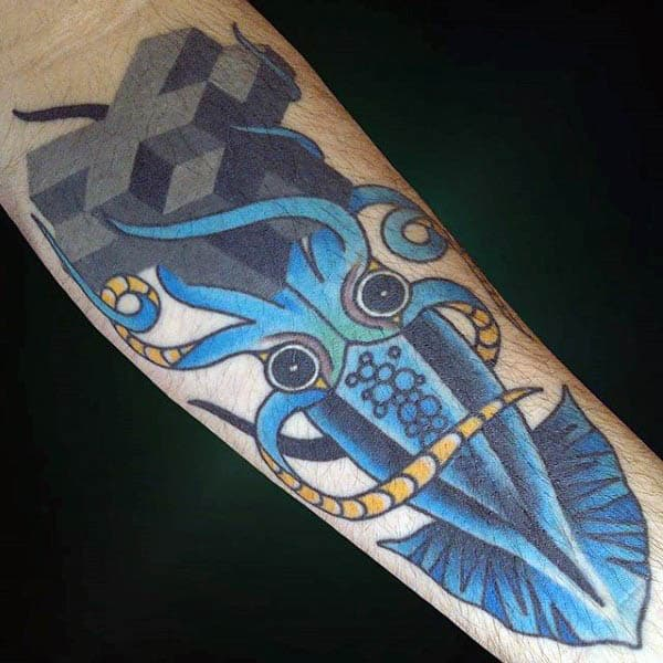 Abstract Blue Mens Squid Tattoos With Grey Crosses On Inner Forearm