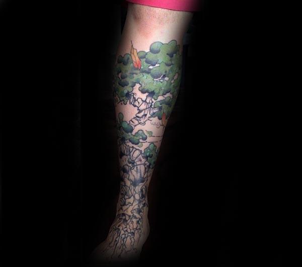 Abstract Bonsai Tree Leg Sleeve Tattoos For Gentlemen