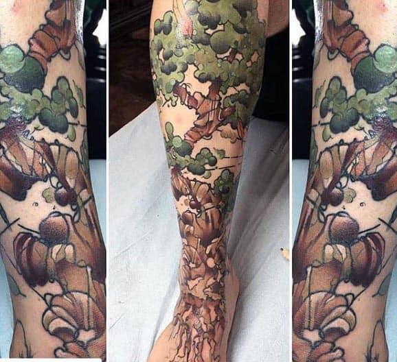 Abstract Bonsai Tree Watercolor Mens Arm Tattoos