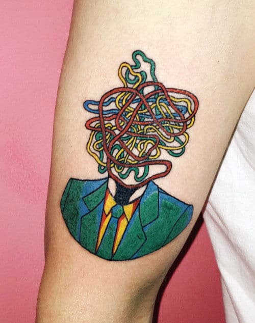 Abstract Businessman In A Suit Pop Art Tattoos For Guys