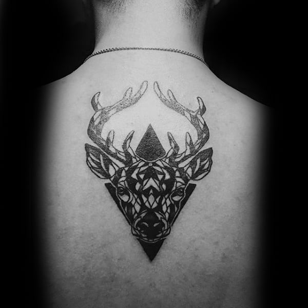 Abstract Center Of Back Moose Tattoos For Men