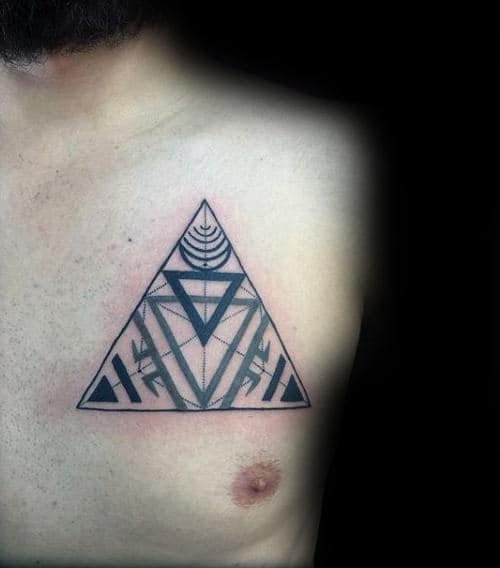 Abstract Chakras Mens Triangle Tattoo On Chest