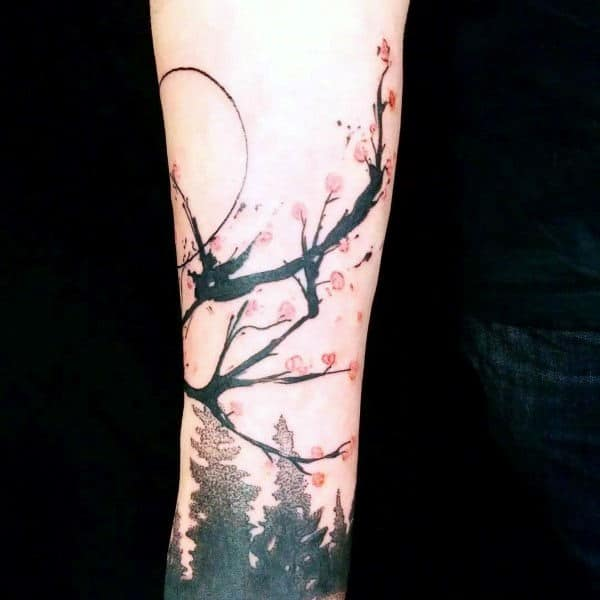Abstract Cherry Blossom Tree Flower Tattoos For Men On Forearm