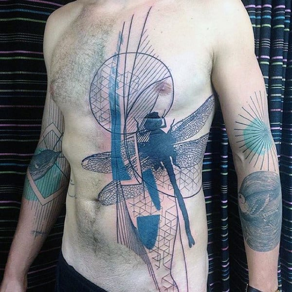 Abstract Chest Dragonfly Unique Tattoo Designs For Guys
