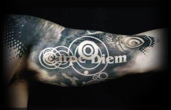 Abstract Circles Carpe Diem Mens Bicep Tattoo