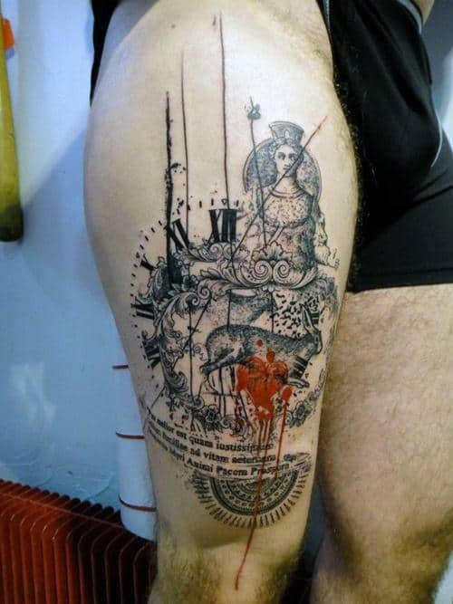 Abstract Clock Thigh Tattoo Ideas For Men