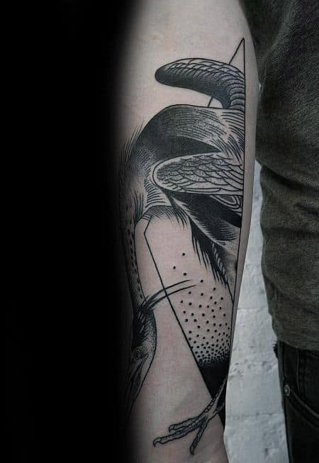 Abstract Crane Male Forearm Tattoos