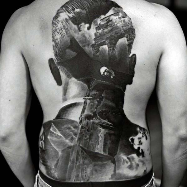 Abstract Creative Male Extreme Shaded Back Tattoo Designs