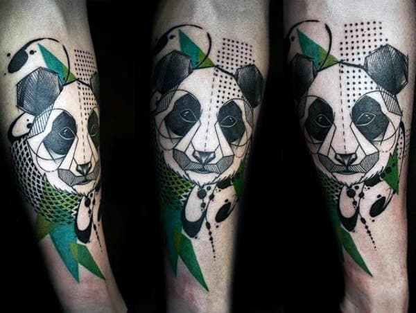 Abstract Creative Panda Black And Green Ink Forearm Tattoos For Males