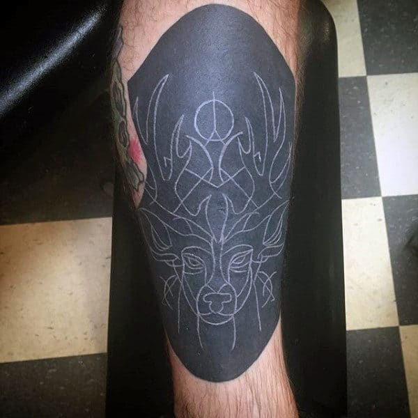 Abstract Deer Tattoo With White Ink Over Black For Guys On Leg