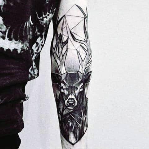 Abstract Deer Tattoos For Men On Inner Forearm