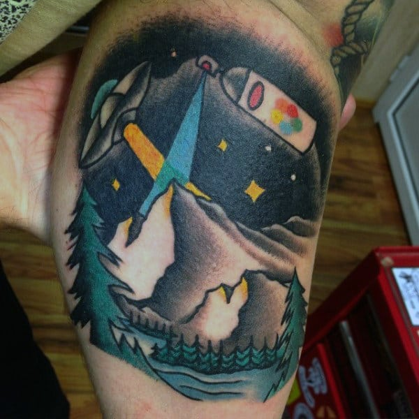 Abstract Design Saving Earth From Ufo Tattoo Mens Arms