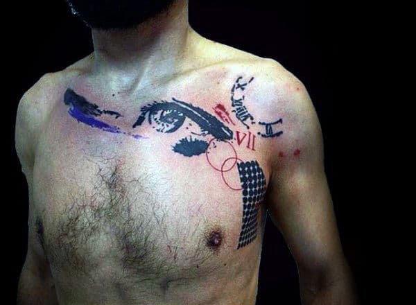 Abstract Eye Male Trash Polka Tattoo On Chest