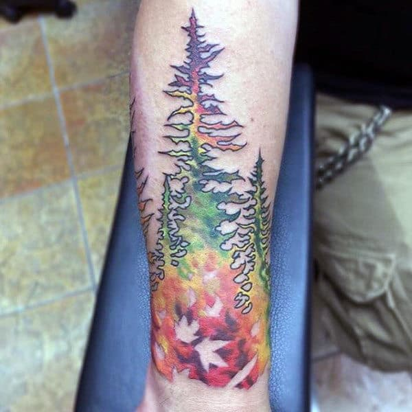 Abstract Fall Color Forearm Tattoo Of Forest On Male