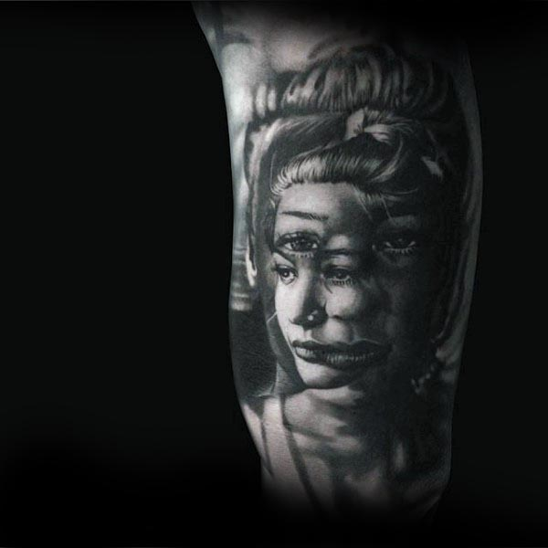 Abstract Female Portrait Cool Arm Tattoo On Guys