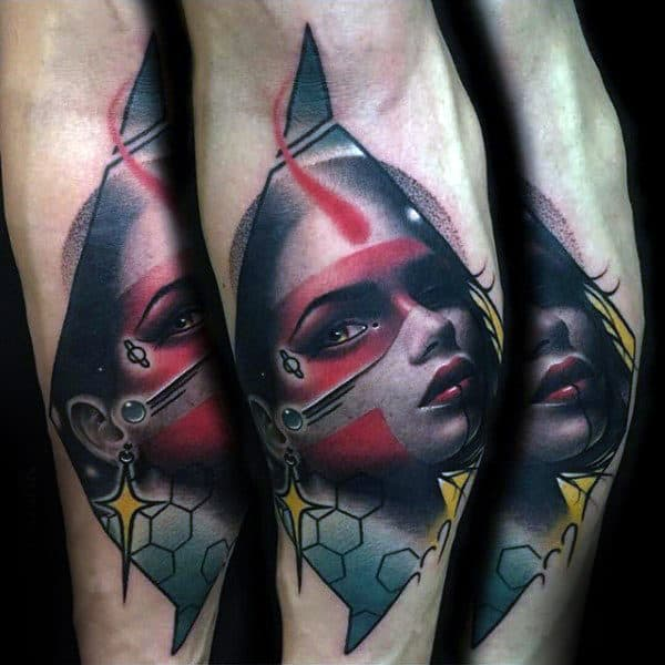 Abstract Female Portrait Male Inner Forearm Tattoo Designs