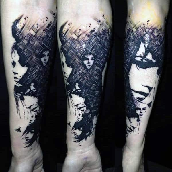Abstract Female Portrait Silhouette Mens Forearm Tattoos