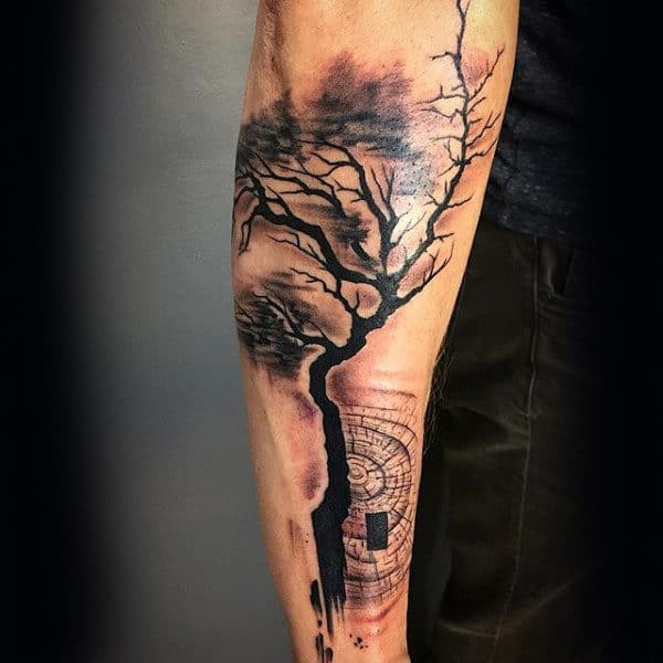 Abstract Forearm Guys Tree Tattoos