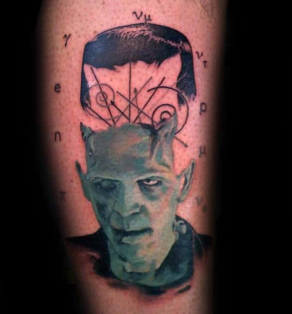 Abstract Frankenstein Head Mens Arm Tattoos